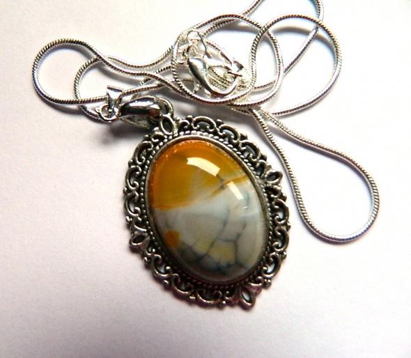 Piękny agat w srebrnej ramce wisiorek vintage...