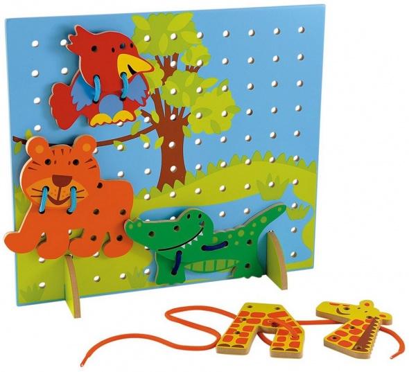 Zabawki Sznurowanka przeplatanka drewniana zabawka edukacyjna Mothercare Safari