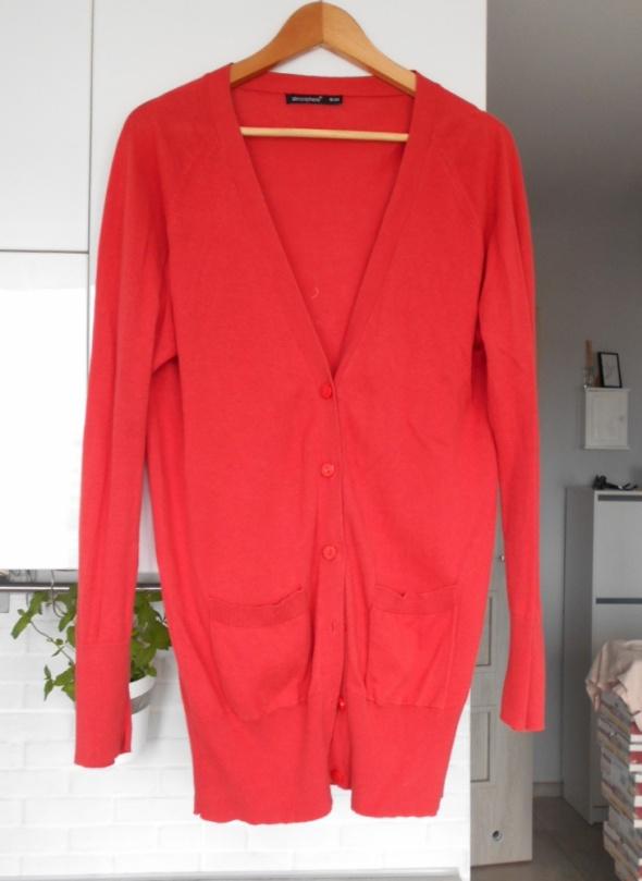 Atmosphere pomarańczowy długi kardigan sweter guziki