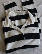 czarno biała koszulka bawełniana polo gant m...