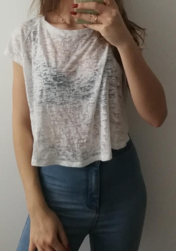 Cienka bluzka crop top biała naked