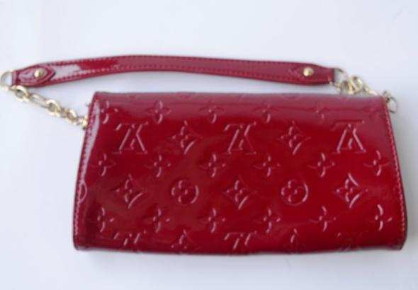 Kopertówka Czerwona Louis Vuitton LV Logowana Portfel Torebka Czerwień