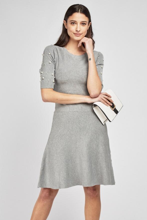 Nowa szara sukienka dzianinowa S 36 M 10 perły perełki sweterkowa jak sweter na zimę
