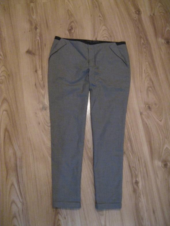 spodnie cygaretki ZARA 38 pepitka beżowa