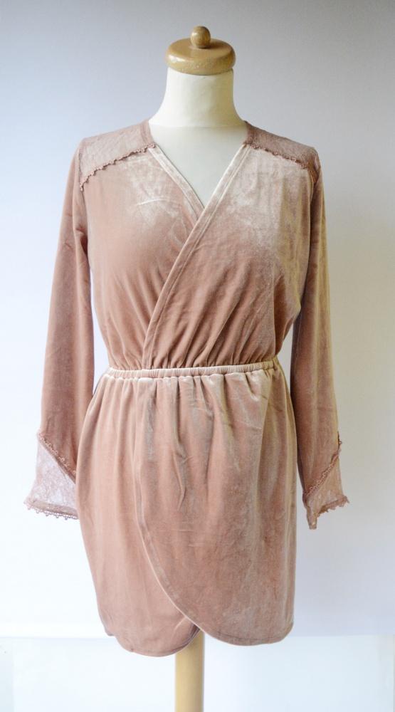 Sukienka NOWA H&M M 38 Brudny Róż Koronkowa Welurowa Kopertowa