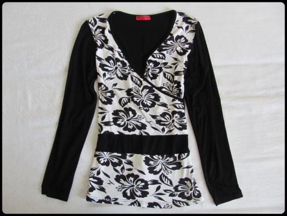 Bluzka czarno biała kopertowy dekolt super do karmienia 38 M