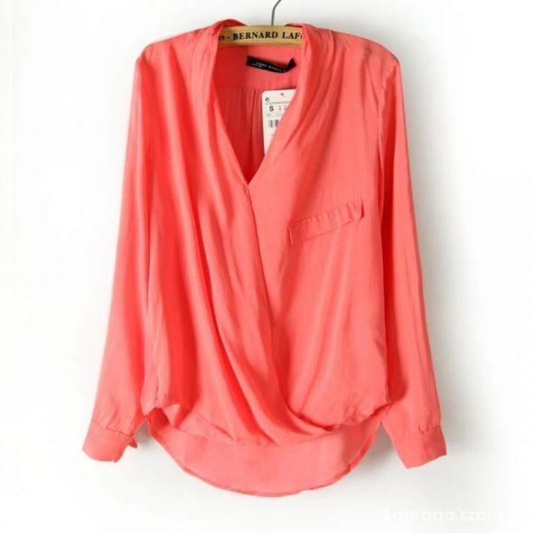 różowa kopertowa koszula zara