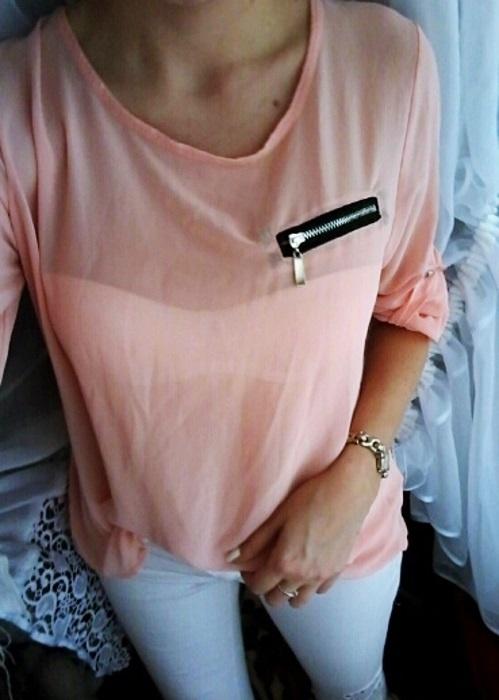 pudrowa koszula z zamkami