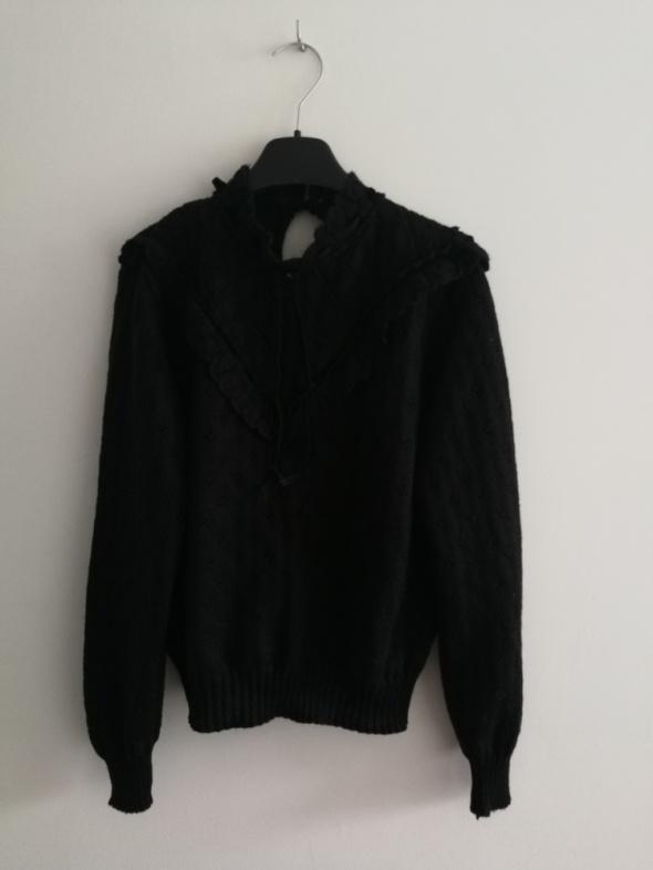 Czarny sweter vintage z wiązaniem