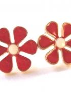 kolczyki kwiatki czerwone białe wkrętki...