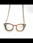 złoty łańcuszek naszyjnik wisiorek okulary...
