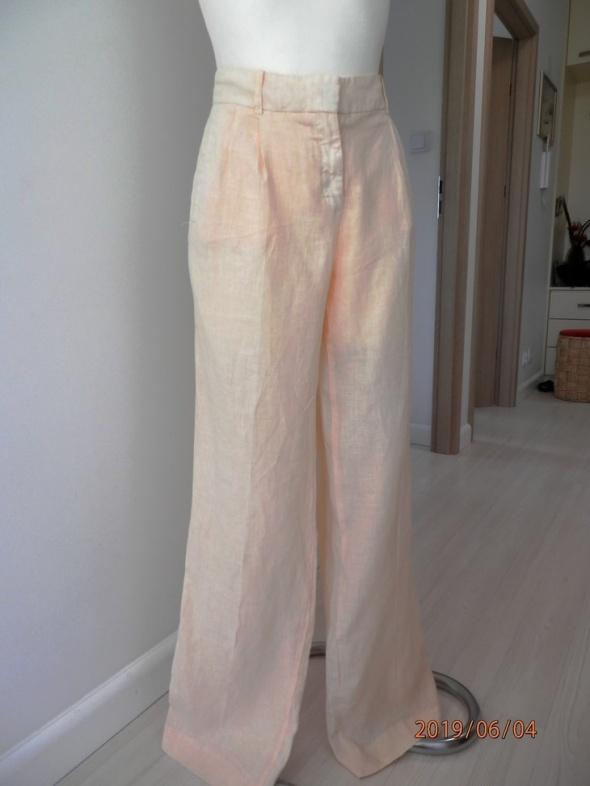 Spodnie Zara Lniane Nogawki Szerokie Pastelowe Nowe z Metką M