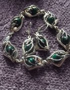 srebrny komplet malachitów w artystycznej oprawie