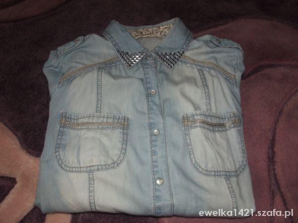 jeansowa koszula z pagonami