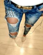 Spodnie jeans dziury ćwieki siwiec doda...