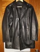 Klasyczna kurtka skórzana włoska czarna...