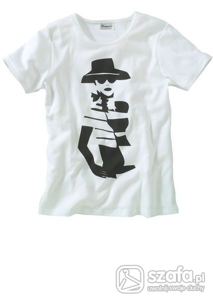 t shirt biały z czarnym nadrukiem