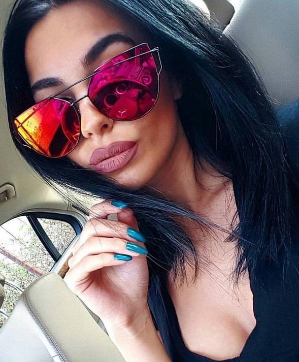 Okulary damskie lustrzanki kocie oczy różowe red