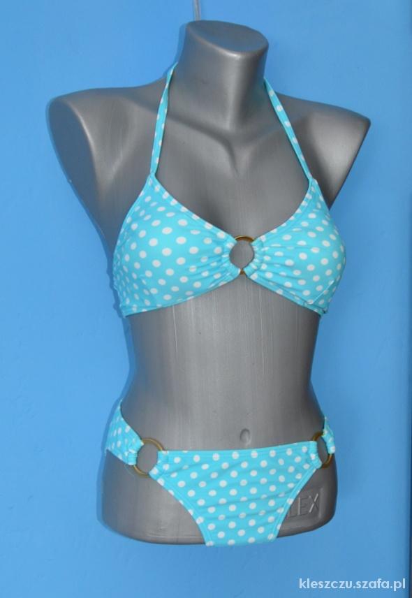 błękitny strój kąpielowy bikini S 36 groszki...