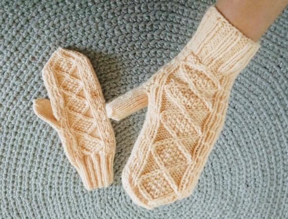 Rękawiczki Łososiowe wełniane rękawiczki handmade