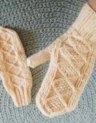 Łososiowe wełniane rękawiczki handmade...