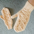 Łososiowe wełniane rękawiczki handmade
