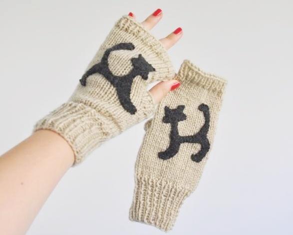 Rękawiczki Mitenki z kotem nowe made in poland