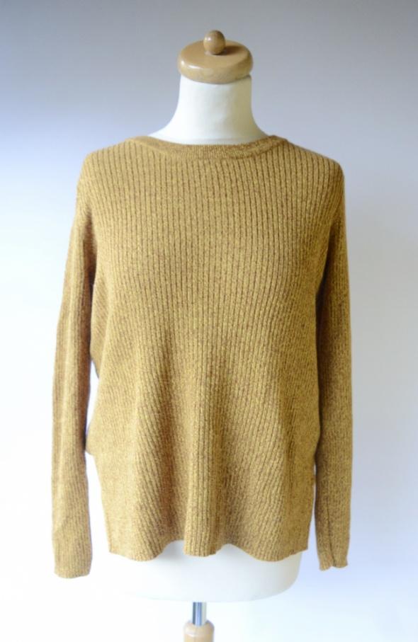 Sweter H&M Prążkowany Musztardowy M 38 Melanż Rozporki...