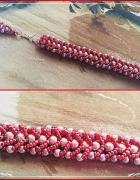 Bransoletka melanż czerwono szaro rożowy...