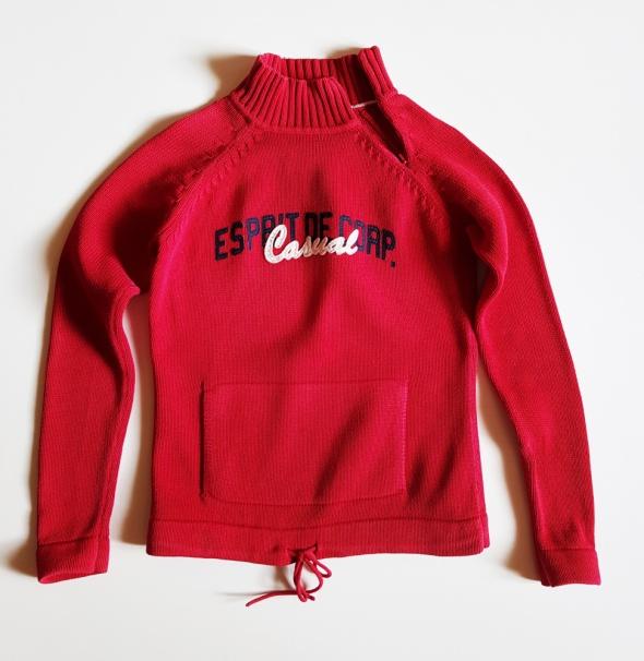 ESPRIT Czerwony sweterek bawełniany S M...
