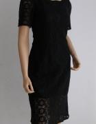 sukienka czarna haft italia włoska koronka XS S M...