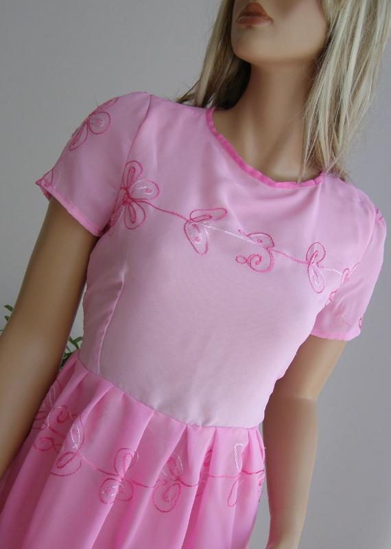 sukienka Zara cekiny haft różowa 36 S wesele szyfon