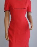 Sukienka gipiura koronka M haft nowa czerwona...