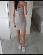 Missguided M bandażowa dopasowana pudrowa szara sukienka ramiąc...