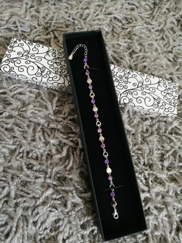 Srebrna bransoletka serca fioletowy kryształ idealna na prezent