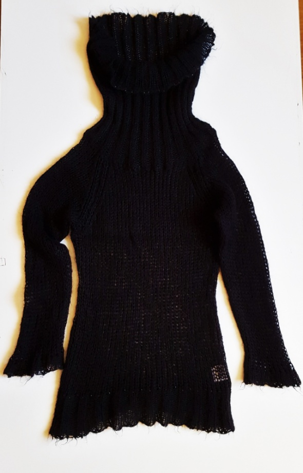 SANT TROPEZ Sweter tunika sukienka ażurowa moherowa koraliki S...