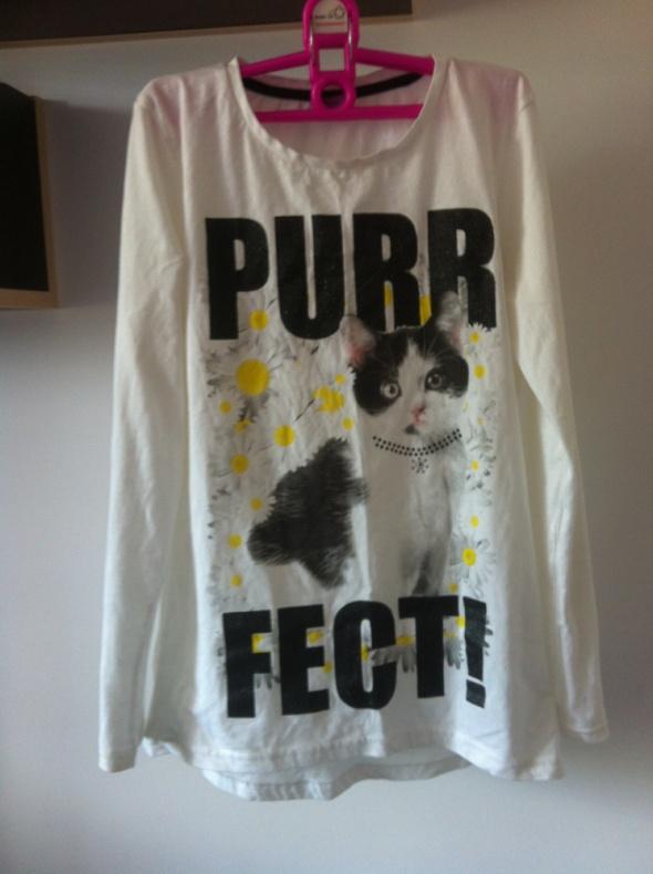 Purrfect kotek bluzka biała nadruk do legginsów...