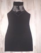 Sukienka mała czarna koronka S