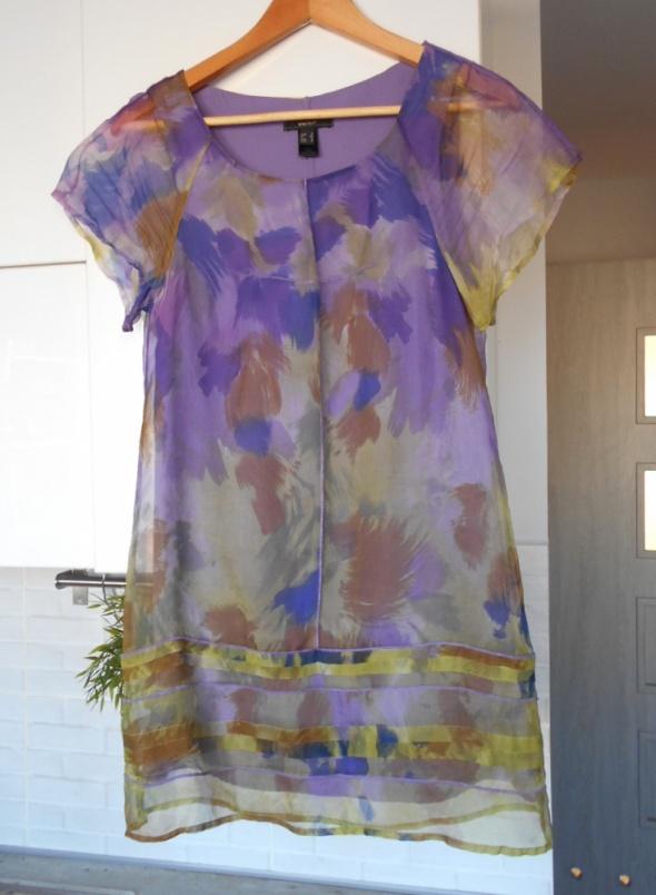 Mango sukienka jedwabna jedwab silk wzory print...