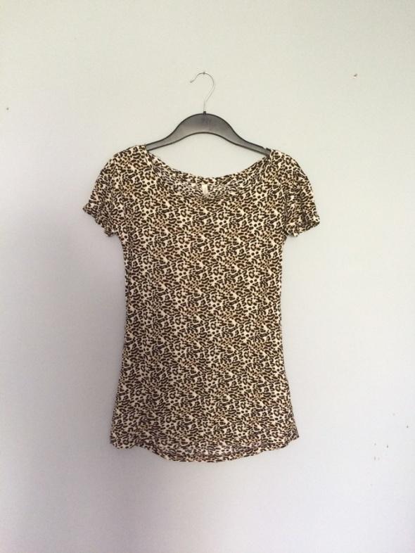 bluzka koszulka top z krótkim rękawem w panterkę p...