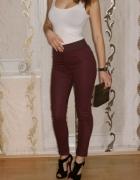 Bordowe Spodnie Treginsy Rurki...