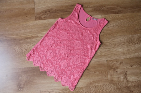 Bluzka różowa koronka 34 XS 36 S ORSAY...