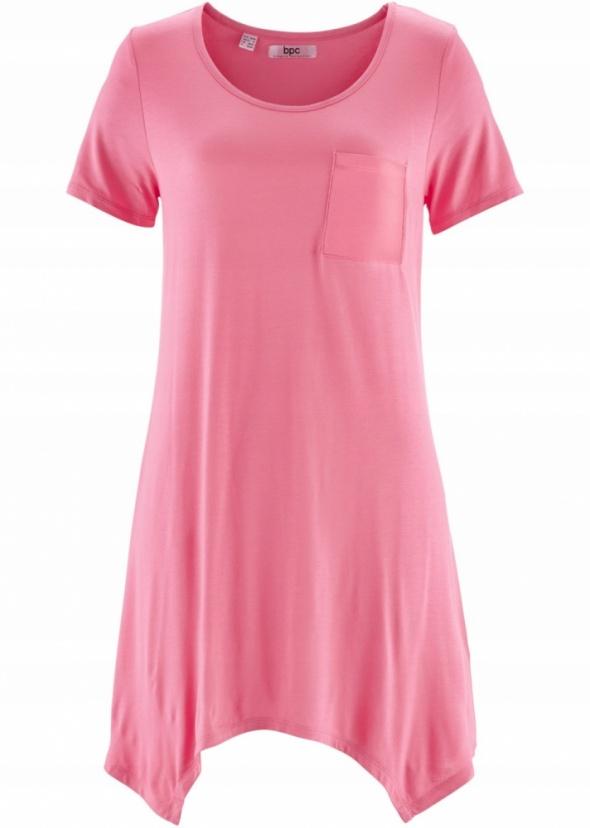 Bluzka z kieszonką asymetryczny dół różowa...