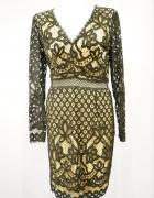 Koronkowa sukienka dopasowana L 40 cielista NOWA