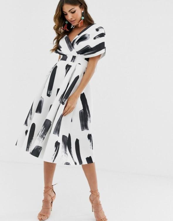 Suknie i sukienki Sukienka rozkloszowana studniówka Asos czarna biała kokarda 36 S wzory