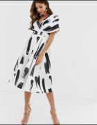 Sukienka rozkloszowana studniówka Asos czarna biała kokarda 36 ...