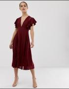 Sukienka Asos 34 XS bordowa czerwień koronkowa rozkloszowana studniówka