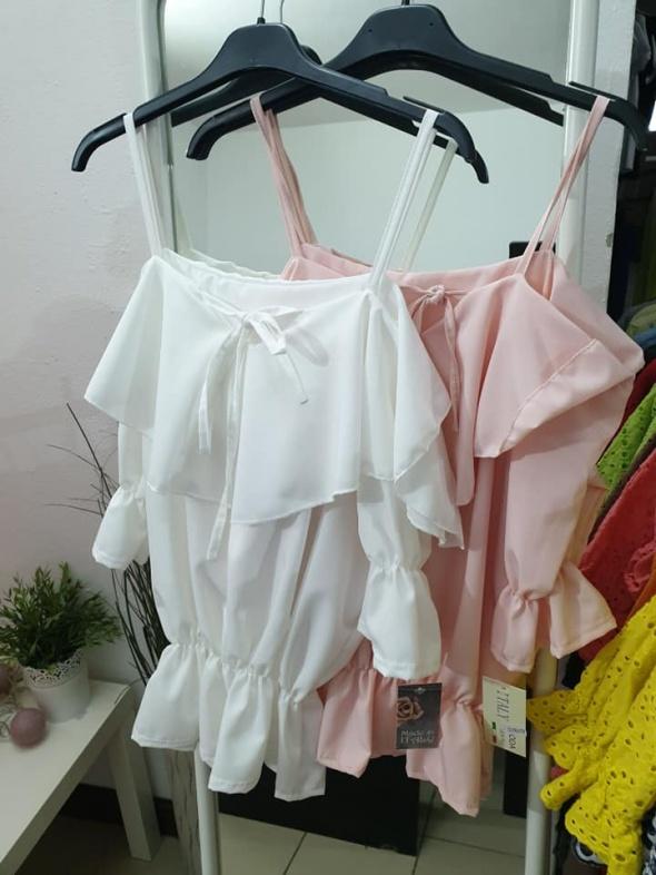 Bluzeczka hiszpanka biała sznurowana mega