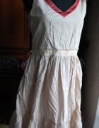 Cotton przewiewna nude i koral sukienka RESERVED
