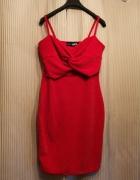 Sukienka sylwester mini metki czerwona kokarda...